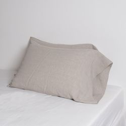 Premium Soft Touch Linen long Pillowcase. Natural. 40X60