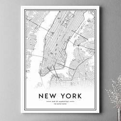 뉴욕 지도 그림 인테리어 액자 A3 포스터