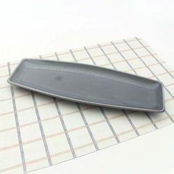NEMO 달소금 모던 유광 긴 생선접시-스카이그레이(대)