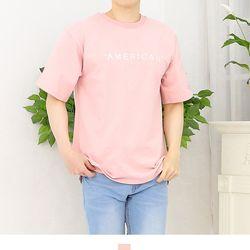 커플시밀러룩 아메리칸 핑크 반팔티