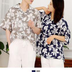 커플시밀러룩 플라워 하와이안셔츠