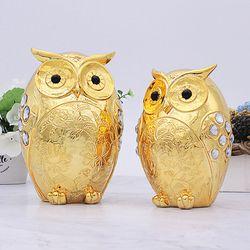 골드도금 황금 부엉이장식품 R-GG214 2P 인테리어소품 개업선물