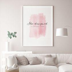 핑크브러쉬 패션 그림 인테리어 액자 A3 포스터