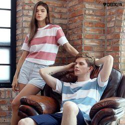 크루클린 남녀공용 스트라이프 반팔 티셔츠 TRS171