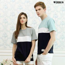 크루클린 남녀공용 3배색 무지 반팔 티셔츠 TRS116
