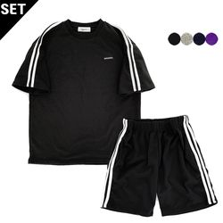 SIMPLE TWO STRIPES T-SHIRT+SIMPLE TWO STRIPES TRACK SHORTS