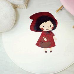 극세사 백설공주 핑크 성냥소녀 원형 러그 카페트 100x100cm