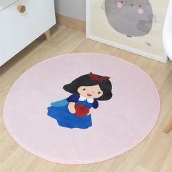 극세사 백설공주 소녀 아이보리 원형 러그 카페트 150x150cm