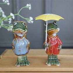 우산 쓴 커플 개구리 (소)