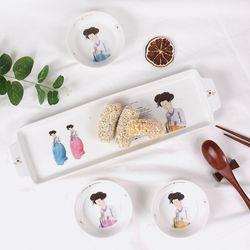 신윤복 미인도 전통기법 도자기 드레싱잔 홈 식기세트