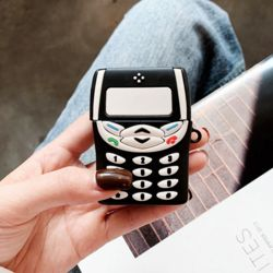 에어팟 케이스 실리콘 레트로 전화기 핸드폰 풀커버