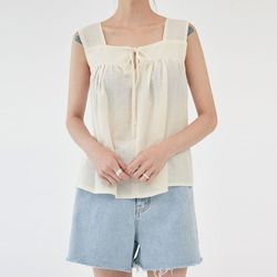 some ribbon sleeveless blouse