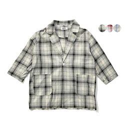 LINEN CHECK JACKET(3color) 린넨 체크 재킷