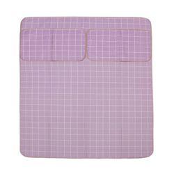 격자 침대커버 세트(퍼플)