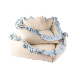 Linen Ruffle Cushion Stripe L