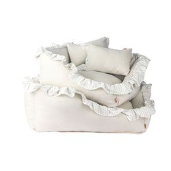 Linen Ruffle Cushion Gray L