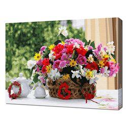 [명화그리기]4050 싱그런 라탄꽃 바구니 28색 정물