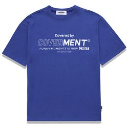 COVERMENT BIG LOGO PRINT OVER-FIT TEE ROYAL BLUE