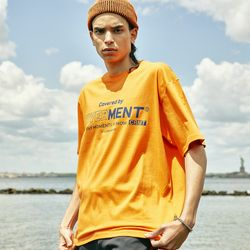 COVERMENT BIG LOGO PRINT OVER-FIT TEE ORANGE