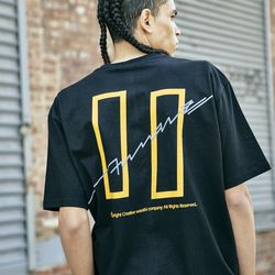 COVERMENT SIGNATURE LOGO PRINT OVER-FIT TEE BLACK