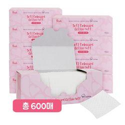 프레티 소프트 엠보 코튼화장솜 100매x6팩(총600매)