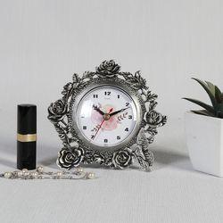 엔틱메탈 빈티지 장미 주석 탁상시계-2디자인