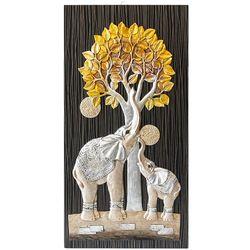 황금 돈나무 코끼리 부조액자 40x80
