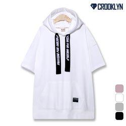 크루클린 레터링 테이프 오버핏 후드 반팔 티셔츠 TRS229