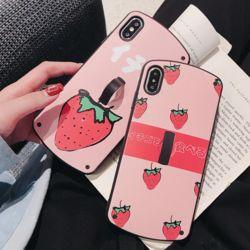 아이폰 딸기 패턴 핑거링 거치대 실리콘 휴대폰케이스