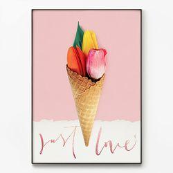 대형 메탈 감성 식물 디자인 포스터 액자 아이스크림 꽃 B