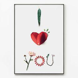 대형 메탈 식물 꽃 디자인 인테리어 액자 아이 하트 유 B