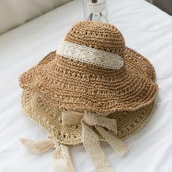 레이스왕골햇 왕골모자 여름모자 비치모자 모자