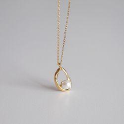 [925실버] 링 진주 목걸이 ring pearl necklace