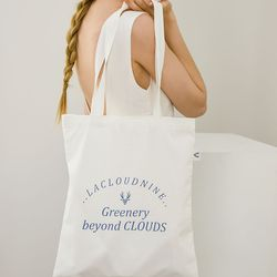 Blue lettering white bag