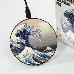 [~7/22까지] [호쿠사이] The Great Wave - 무선충전 명화디자인패드
