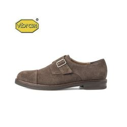 AMERICAN COW SUEDE MONK STRAP BROWN