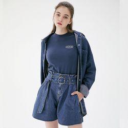 스냅 오버사이즈 롱 데님셔츠 C218ST002-DB