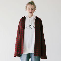 체크 오버사이즈 셔츠 C318ST002-RD