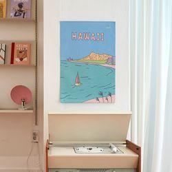 하와이 일러스트 패브릭 포스터.가리개커튼 (M 사이즈)