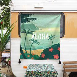 하와이 일러스트 패브릭 포스터.가리개 커튼 (행잉L 사이즈)