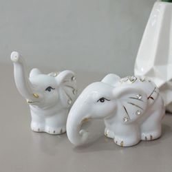 화이트 나뭇잎 코끼리 2p set