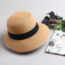 [더로라]밀짚 모자-심플띠 라탄 여름모자 H903