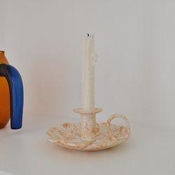 Spongeware 손잡이촛대 - sandy orange