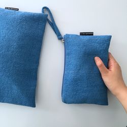 퀼팅 블루 미니 클러치(Quilting blue mini clutch)-medium