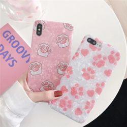 아이폰 발바닥 유광 자개 글리터 실리콘 커플 케이스