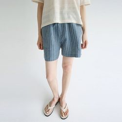 woven stripe short pants (2colors)