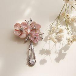 바이데이지 92Bh0215 자개꽃 크리스탈 큐빅 브로치