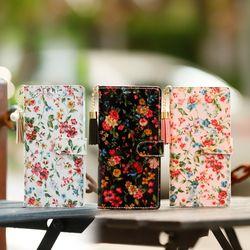 갤럭시A9프로 (G887) Jardine-T 꽃무늬 지갑 다이어리 케이스