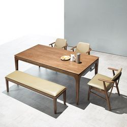 모노 6인 원목 식탁세트(의자벤치)