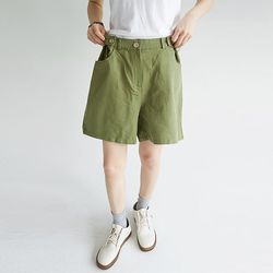 waist button forming cotton pants (4colors)